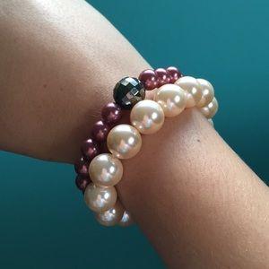 A pair of mix matching bracelets